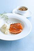 Home-smoked salmon with cauliflower puree