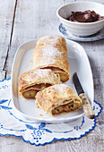 Caramel strudel with bananas and cocoa whipped cream