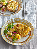 Carp in herb and cornflakes crust with potato salad