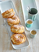 Choux pastry wreaths with coffee cream