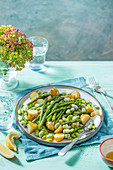 Assparagus, broad bean and new potato salad with olive oil and lemon