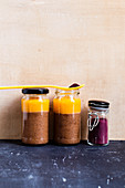 Chia chocolate pudding with an apricot puree 'To Go'
