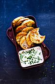 Small potato dumplings with vegan plant yogurt 'To Go'