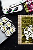 Vegan smoked tofu vegetable sushi 'to go'