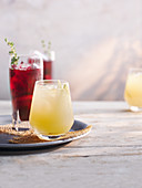 Plum sangria with apples and pears