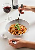 Pasta with classic tomato sauce and zucchini