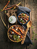 Vegetarian lentil stew with carrots and feta