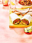 Spicy rice burritos