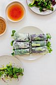 Summer rolls filled with wild herbs