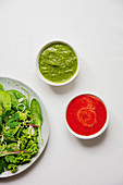 Green herb sauce and hot chili sauce