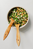 Green chickpea salad with fresh herbs and feta