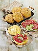 Homemade corn rolls with salami