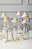 Wedding cake pops shaped like wedding cakes