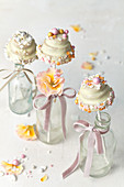 Wedding cake pops in wedding cake format