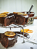 Chocolate brownie cake with candied oranges