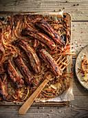 Roast spare ribs