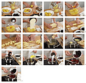 Preparing potato and poppy seed cones with blackberry topping