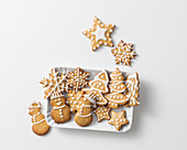 Figurative shortcrust pastry cookies with sugar decorations