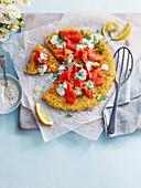 Giant Roesti with Smoked Salmon, Lemon and Fresh Cheese
