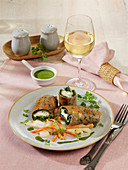 Roast buckwheat and herb rolls with fresh goat's cheese