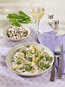 Sorrel dumplings with asparagus ragout