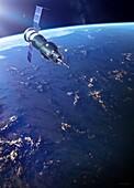 Soyuz 3 spacecraft in Earth orbit, illustration