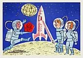 Cosmonauts on the Moon, illustration