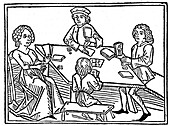 People playing cards, illustration