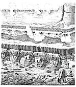 Siege battery, 19th century illustration