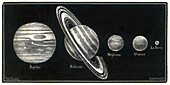 Gas giant planets and Earth, 19th century illustration