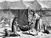 Persian nomadic tribe preparing of cheese, illustration
