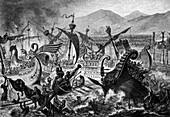Naval battle organised by Emperor Claudius, illustration