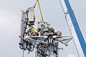 Workers upgrading a cell tower