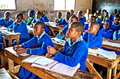 Schoolchildren learning, Kamba County, Kenya