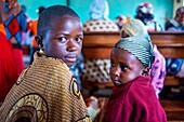 Children at a Sunday mass, Kamba, Kenya
