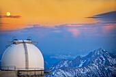 Pic du Midi de Bigorre Observatory at sunset, France