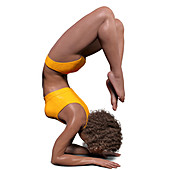 Woman in scorpion yoga position, illustration