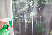 Cleaning window with spray bottle glass cleaner
