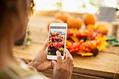 Florist photographing autumn display with a smartphone