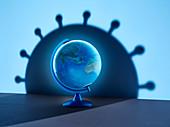 Spinning globe casting large coronavirus shadow