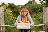 Happy woman with crate of fresh harvested apples in garden