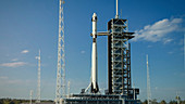 Rocket and spaceship on launch pad, illustration