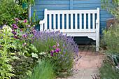 Weiße Gartenbank am Beet mit Lavendel und dunkler Malve