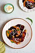 Winter beetroot salad with pumpkin, chickpeas and yogurt