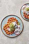 Savoury sweet potato waffles