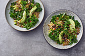 Green bowls with freekeh, kale and green peppers