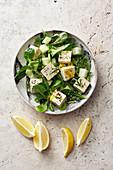Veganer Melonensalat mit Zitronentofu und Feldsalat