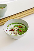 Green vegetable bowl with soy milk