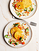 Polenta fritters with vegetables and cashew cream