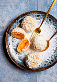 Apricot dumplings with grated coconut (sugar-free)